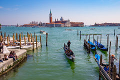 Gondola with the tourist in Venice, Italy Royalty Free Stock Photo