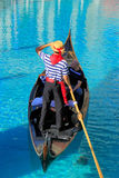 Gondola with tourists in a canal, Venetian Resort hotel and casi Stock Photography