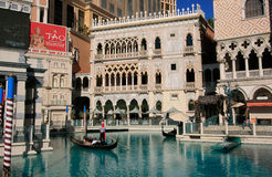 Gondola with tourists in a canal, Venetian Resort hotel and casi Royalty Free Stock Image