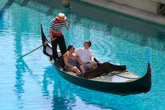 Gondola with tourists in a canal, Venetian Resort hotel and casi Royalty Free Stock Photos