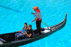 Gondola with tourists in a canal, Venetian Resort hotel and casi Royalty Free Stock Photography