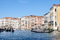 Gondola with tourists on the Grand Canal in Cannaregio, Venice, Royalty Free Stock Photography