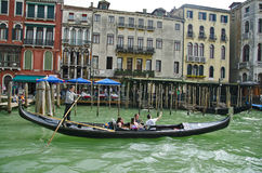 Gondola. Tourists taking selfies in a gondola, Venice Stock Images