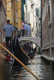 Gondola Traffic Jam in Venice Royalty Free Stock Photography