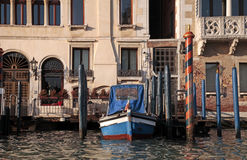 Gondola and typical medieval house on Grand canal, Venice, Italy Royalty Free Stock Image