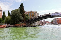 Gondola under the bridge Ponte dell'Accademia in Venice, Italy Royalty Free Stock Photography