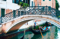 Gondola under the bridge Royalty Free Stock Photography