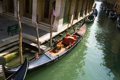 Gondola in Venetian canal Royalty Free Stock Images