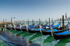 Gondola in a Venetian canal, the old district of Venice without Stock Photos