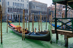 Gondola in a Venetian canal, the old district of Venice without Stock Photography