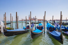Gondola the Venetian rowing boat in Venice, Italy Royalty Free Stock Photos