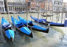 Gondola, Venezia 2. The world-famous gondola vessels, a Venetian channel, Italy Stock Images