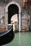 Gondola in Venice. Gondola tied up near Harrys Bar Stock Photo