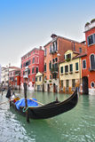 Gondola in Venice. Gondola parking in Venice, Italy. Historic Building on the background royalty free stock photo
