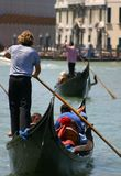 Gondola in Venice. Gondolas on the Grand Canal in Venice Royalty Free Stock Photos