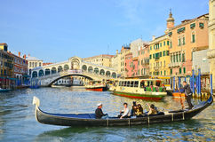 Gondola in Venice canal, Italy Royalty Free Stock Images