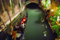 Gondola, Venice, May 2007. A Gondola in motion at night in a Venice canal Stock Photo
