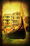 Gondola in Venice with vintage texture Stock Photography