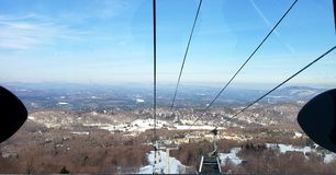 Gondola View. Landscapes winter wintersports vermont skitheeast mountains skiing adventure outdoors nature royalty free stock image