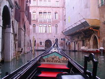 Gondola. View from gondola in Venice royalty free stock images