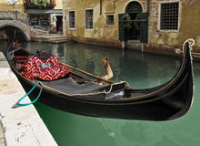 Gondola waiting for tourists in Venice Royalty Free Stock Photo