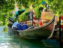 Gondola on water. Beautiful gondola on water street of Venice, Italy royalty free stock photography