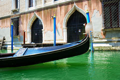 The gondola is on water channel Stock Photo
