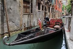 A gondola in the waterways of Venice Royalty Free Stock Photo