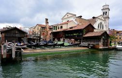 Boatyard in Venice, Italy. Gondola workshop of Venice Italy Stock Photography