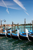 Gondolas. In Venice, Italy at the pier next to St. Mark's Square Stock Image