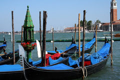 Gondolas. Parking place at the canal Royalty Free Stock Image