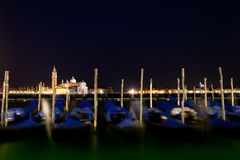 Gondolas anchored on Grand Canal Royalty Free Stock Images