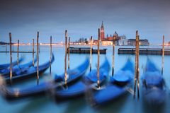 Gondolas anchored on Grand Canal in Venice Royalty Free Stock Images