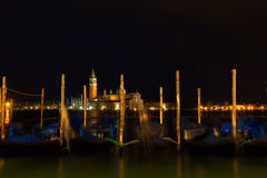 Gondolas anchored on Grand Canal in Venice Royalty Free Stock Photography