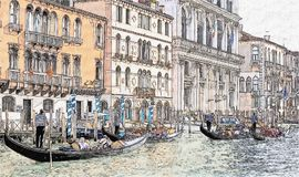 Gondolas and ancient buildings in Canal Grande, Venice, Italy. Drawing of Canal Grande with ancient buildings and gondolas, a traditional flat-bottomed Venetian vector illustration