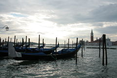 Gondolas. On the background of the Cathedral Royalty Free Stock Photography