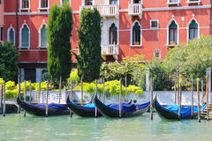 Gondolas at berth of the Grand Canal Stock Photo