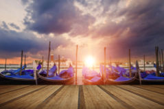 Gondolas bobbing in lagoon outside San Marco Piazza Venice Italy Royalty Free Stock Photography