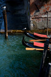Gondolas bows in Venice in Italy Stock Photo