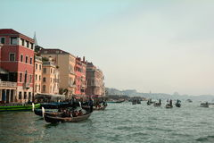 Gondolas and Buildings in Venice,Italy Royalty Free Stock Image