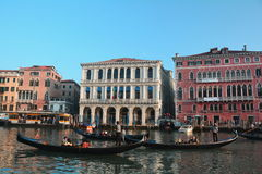 Gondolas and Buildings in Venice,Italy Royalty Free Stock Photos