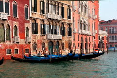 Gondolas and Buildings in Venice,Italy Stock Images