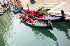 Gondolas in a calm canal Stock Photography
