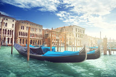 Gondolas on Canal and Basilica Santa Maria della Salute, Venice Stock Photos