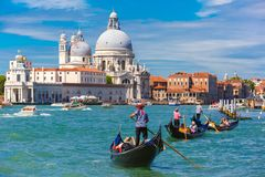 Gondolas on Canal Grande in Venice, Italy Royalty Free Stock Images