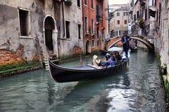Gondolas on canal in Venice Stock Photos