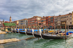 Gondolas in the canal of Venice Stock Images