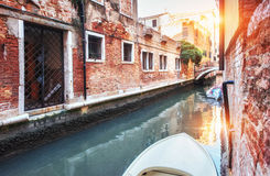 Gondolas on canal in Venice.  is a popular tourist destination of Europe Royalty Free Stock Photo
