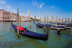 Gondolas on the canal in Venice Stock Photos
