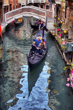 Gondolas on canal in Venice Stock Image